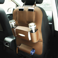 PU Car Seat Back Storage Bag Car Rear Seat Phone Holder Drink IPad Tablet PC Holder