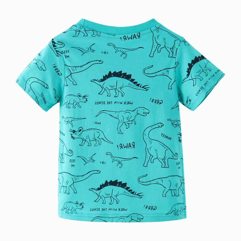 SAILEROAD Dinosaur Print Children Tops T Shirt for Kids Clothes Summer 2021 Boys T-Shirts Cotton 7Years Baby Girls Clothing 2