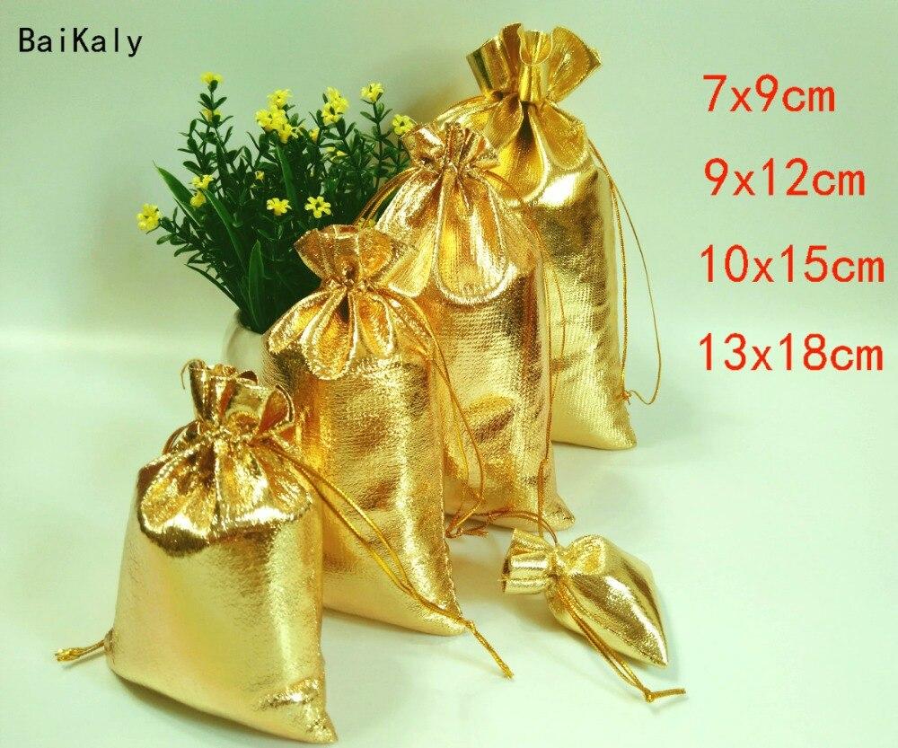 50 шт., 7x9 9x12 10x15 13x18 см Золотая фольга, сумочка для украшений из органзы, сумки для свадебной вечеринки, сумка для подарка на Рождество, упаково...