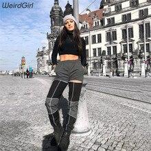 купить!  Weirdgirl женщины светоотражающие полосатые повседневные брюки мода уличная одежда лоскутное высокой