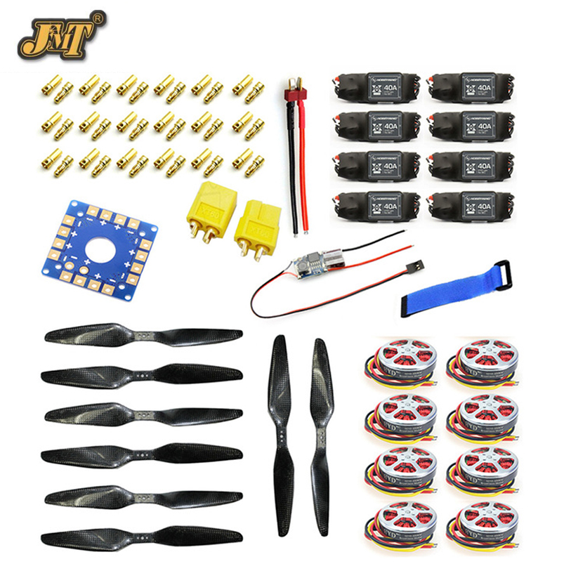 купить JMT 40A Brushless ESC + 350KV Brushless Motor 15x5.5 3K CF Propeller CW CCW 1555 ESC Connection Board XT60 T Plug по цене 14556.22 рублей