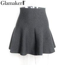 Draped knitted short skirt