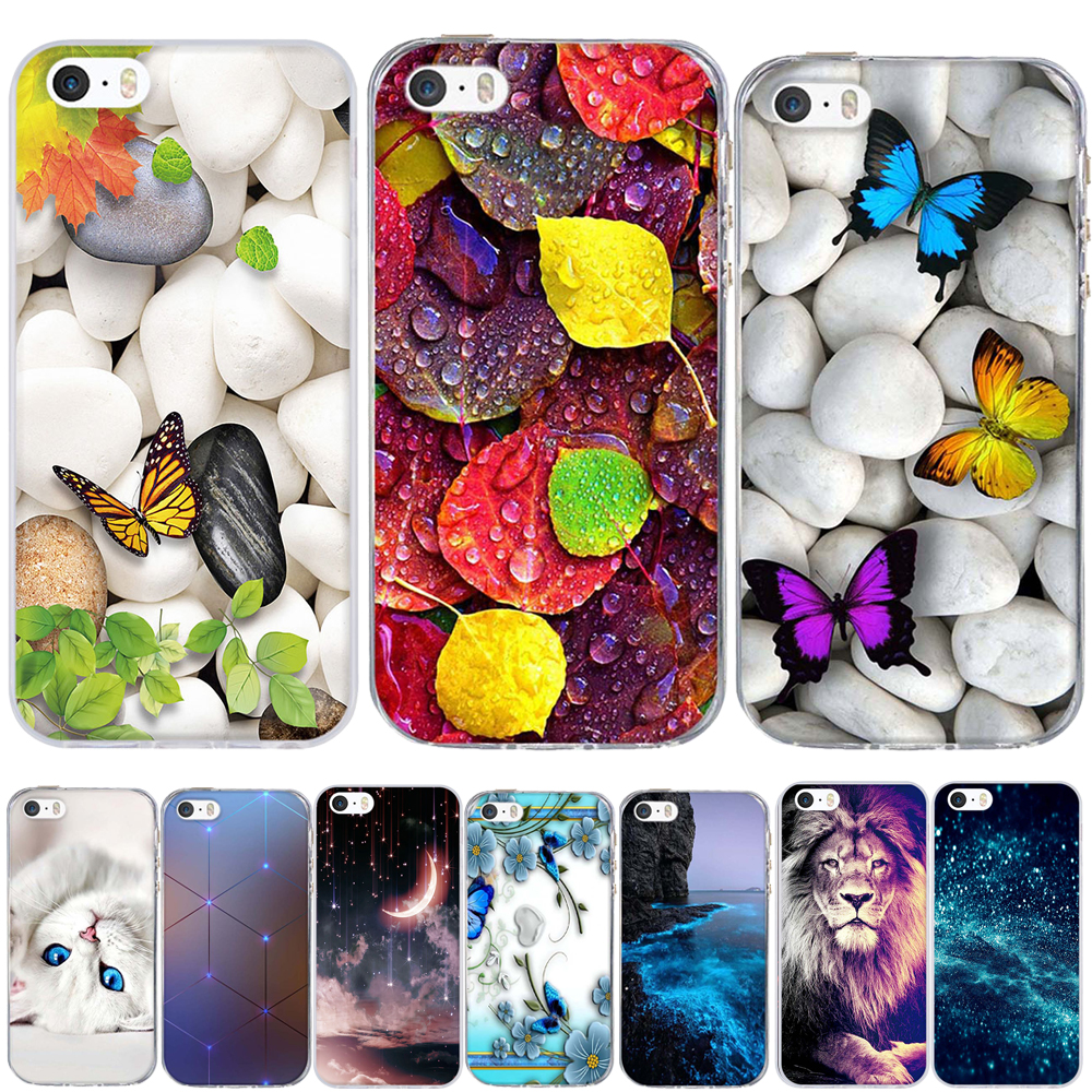 new product 15c3a f1645 Cover For Iphone 5 5S SE Iphone 5S Case Silicone Cute Iphone SE Cover For  Iphone 5 S Phone Bag Ultra Thin