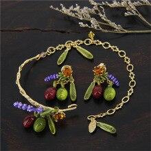 Francia aceitunas púrpura Flwoer elegante pulsera de los brazaletes / pendientes para mujeres conjuntos de joyas