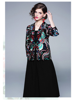 Spring new original design Chinese style retro art totem full Embroidered jacket outerwear+skirt two-pieces set for women