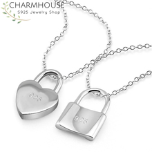 Pure Silver 925 Necklaces For Women Lock Pendant Necklace Collier Choker Wedding Bridal Jewelry Accessories Bijoux Party Gifts pure 925 silver necklaces for women key pendant necklace 2mm ball chain collier femme choker fashion jewelry accesories bijoux