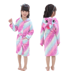 Kids Robe Girl Unicorn Bathrobe Hooded Bath Towel Fleece Sleep Robe Unisex Animal Sleepwear Dressing Gown Nightwear Boys Clothes
