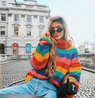 oversized turtleneck sweaters women winter jumpers knitted clothes fashion striped SM855