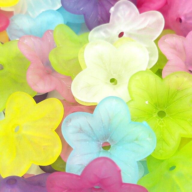 50 unids/lote 5*18mm barato nueva flor transparente acrílico resina cuentas caramelo acrílico espaciador cuentas joyería Accesorios venta al por mayor