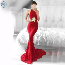 Ameision Sexy Red Lace Evening Dresses Long 2019 New Mermaid Gowns Women Halter Backless Lady Club bodycon Party Dress