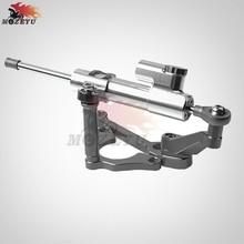 цена на GRAY CNC Aluminum Motorcycles steer damper Mounting Bracket Kit & Steering Stabilizer Damper For Kawasaki Z900 Z 900 2017 2018