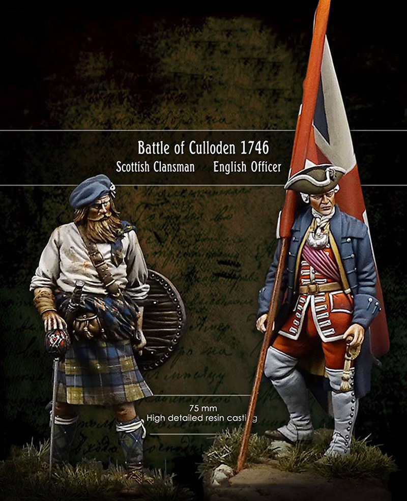 New Unassembled 1 24 75MM Battle of Culloden English Officer 2 soldier Resin Kit DIY Toys