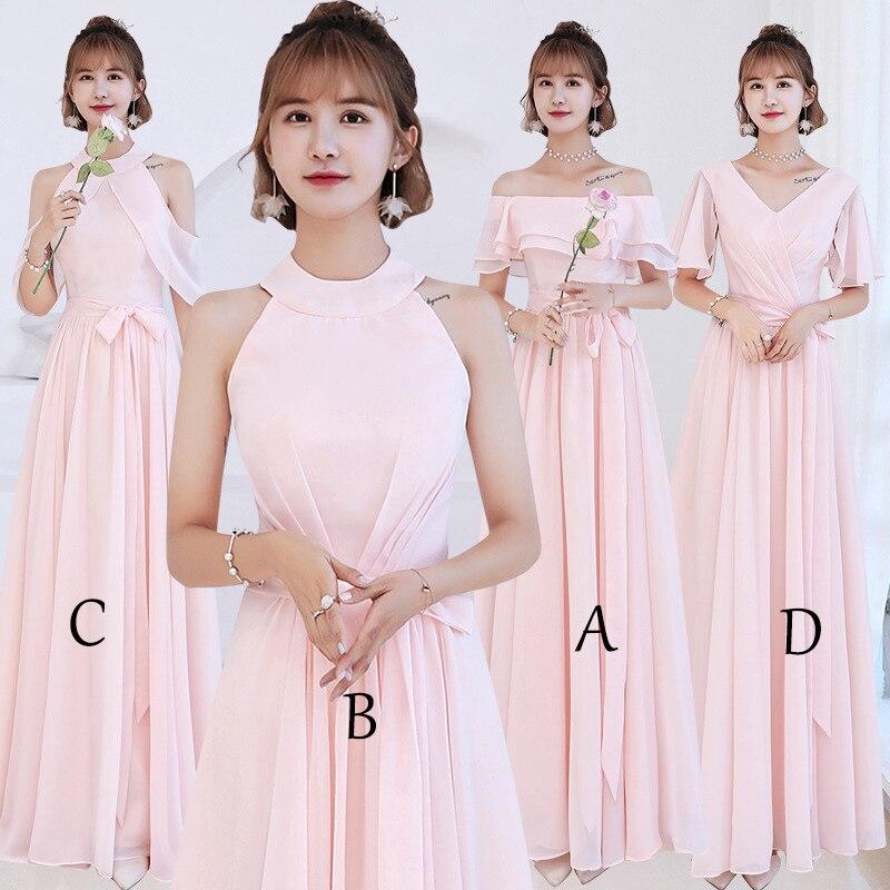 2018 New Elegant Chiffon Boat Neck   Bridesmaid     Dresses   Off the Shoulder Brideamaid   Dress   robe demoiselle d'honneur Mingli Tengda