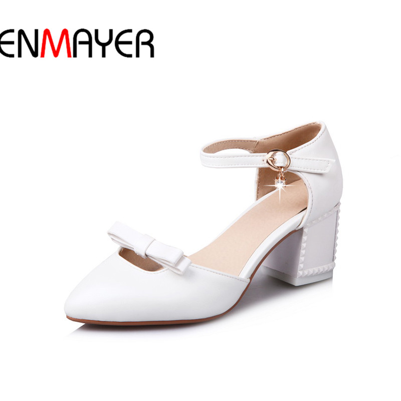 ENMAYER Square Heel Women Medium Heel Shoes Ladies Style Pointed Toe Shoe34-43 Butterfly-Knot Sweet Simple Simple Shoe 6cm selens pro 100x100mm 12nd square medium