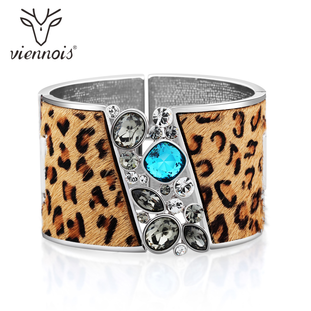 Viennois Silver Color Leopard Wide Bangle For Women Female Crystal Bracelets & Bangles Mixed Color Fashion Jewelry fashion 2 size pure tungsten steel hematite couple bracelets bangles for women jewelry mens silver color bracelets for lover s