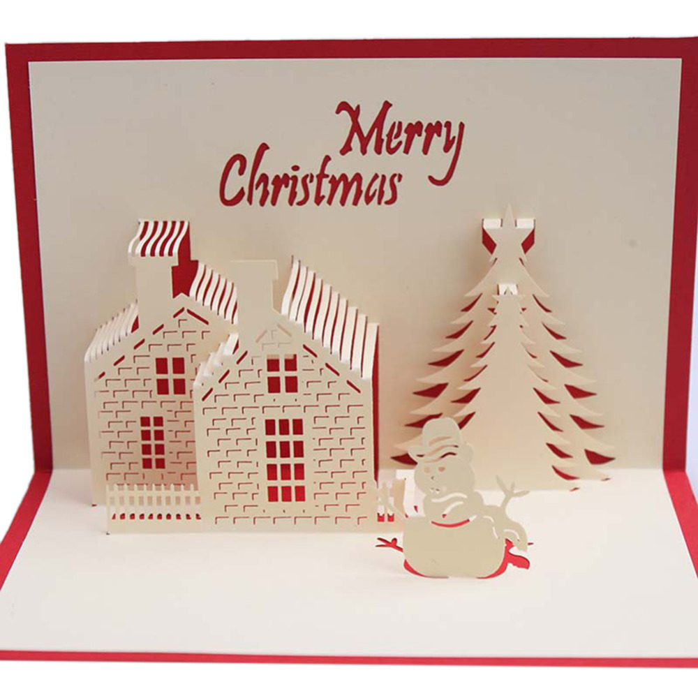 Creative 3d Pop Up Greeting Card Handmade Merry Christmas Card