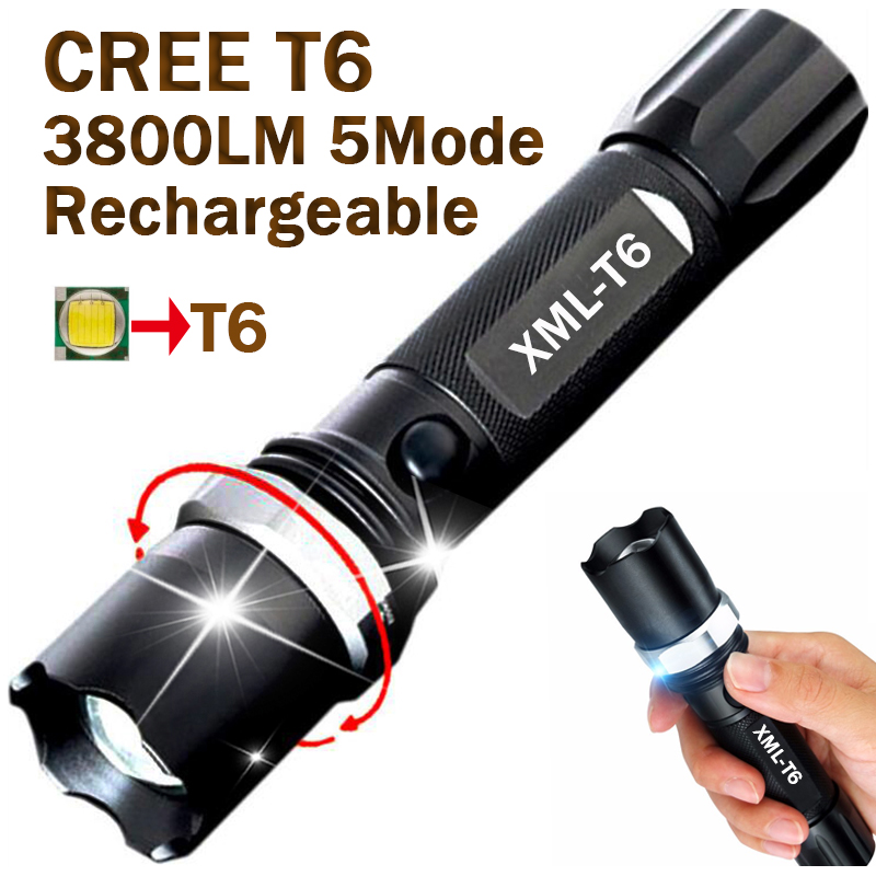 2017 New CREE XML T6 Led Flashlight 3800LM Led Torch Zoomable Waterproof Tactical Flashlight lanterna for 1x18650 Camping Hiking 3t6 led flashlight cree xml 5mode lamp waterproof lanterna tactical denfense torch with rechargeable 3x18650 battery and charger