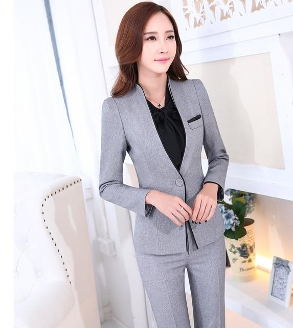 Uniforme Formal diseño profesional nuevo novedad Grey trabajo de negocios trajes  chaquetas y pantalones Mujer Pantalones 0fecb0d94074