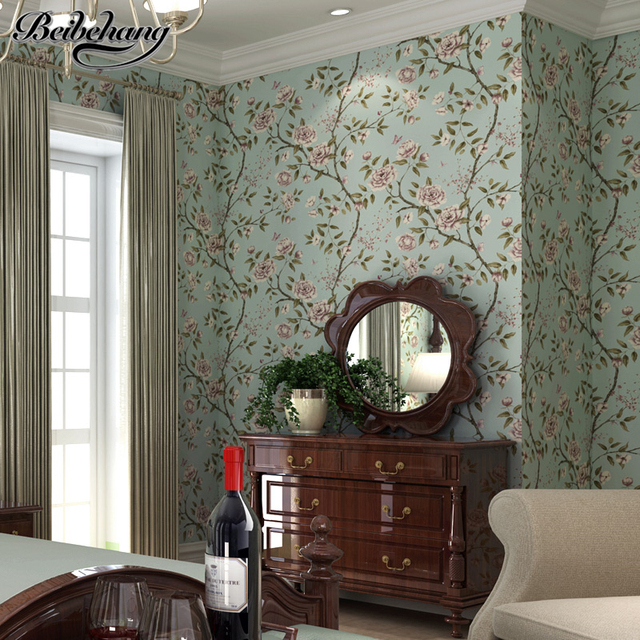 beibehang American Style Pastoral AB Edition Large Flower Nonwovens Wallpaper Bedroom Living Room TV Background Wallpaper