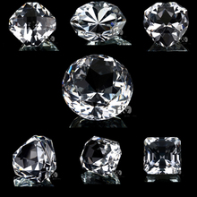 Clear 8pcs/set Diamond Cut Glass Jewelry Paperweight Crafts Collection Souvenir Birthday Christmas Wedding Gifts Decoration