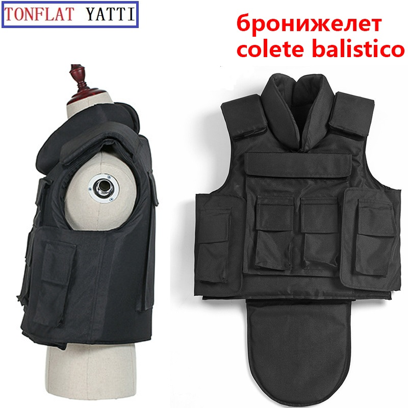 NIJ IIIA 9mm Full Body Armor Aramid Fibers1000D Nylon Protective Jacket Neck Crotch Plate Carrier Military Vest Colete Balistico