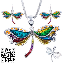 1set Dragonfly Necklace Earrings Set Alloy Unique Dragonfly Design Gift Animal Pendant Jewelry Sets Rainbow Charm Accessories
