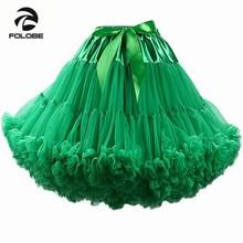 FOLOBE ירוק Dancewear ביצועי חצאית גבוהה מותן כדור שמלת טול טוטו חצאית ברך אורך למבוגרים Faldas Saias Femininas TT009