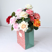 HUAIU Fashion Artificial Flower Double Head Rose For Home Wedding Party Valentines Day Decoration Wall Photography Props