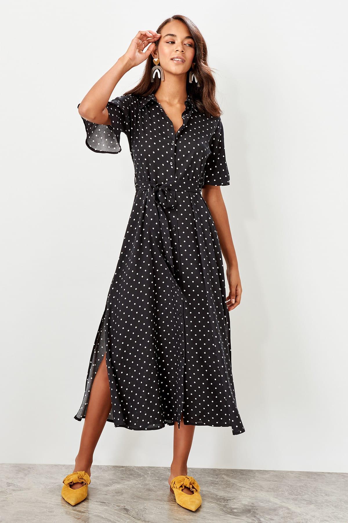Trendyol Black Polka Dot Dress TWOSS19EL0094