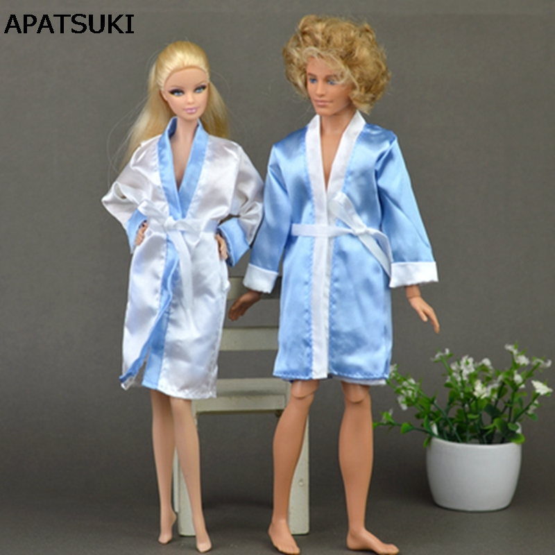 2pcs / set Soverom Pyjamas Robe Nighty Badekåpe Klær Til Barbie Dukker Kappe Og Shorts For Ken BJD Dukke Barn Barn Beste leker gave