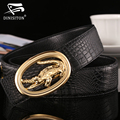 DINISITON Genuine Leather crocodile business men's belts luxury Designer brand Belts For Men High quality smooth buckle Jeans