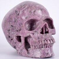 Г 2122 г статуя череп натуральный лепидолит камень большой Подарочный Череп Кристалл человеческая голова ручная резьба Статуэтка целебные ч