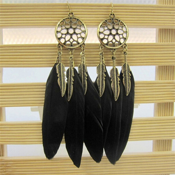 Women's Dream Catcher Earrings Earrings Jewelry Women Jewelry Metal Color: black