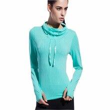 Mujeres deporte yoga camisa camisas de secado rápido con capucha de yoga ropa deportiva de las mujeres camisas de manga larga tops deportivos de fitness mujeres de la blusa