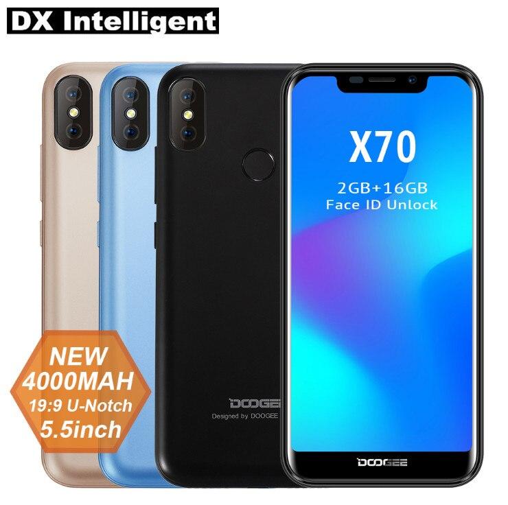 DOOGEE X70 4000 мАч 5,5 дюймов 19:9 полный Дисплей мобильный телефон 3G mtk6580a четыре ядра 2 ГБ + 16 ГБ 8MP двойной камеры заднего оты отпечатков пальцев