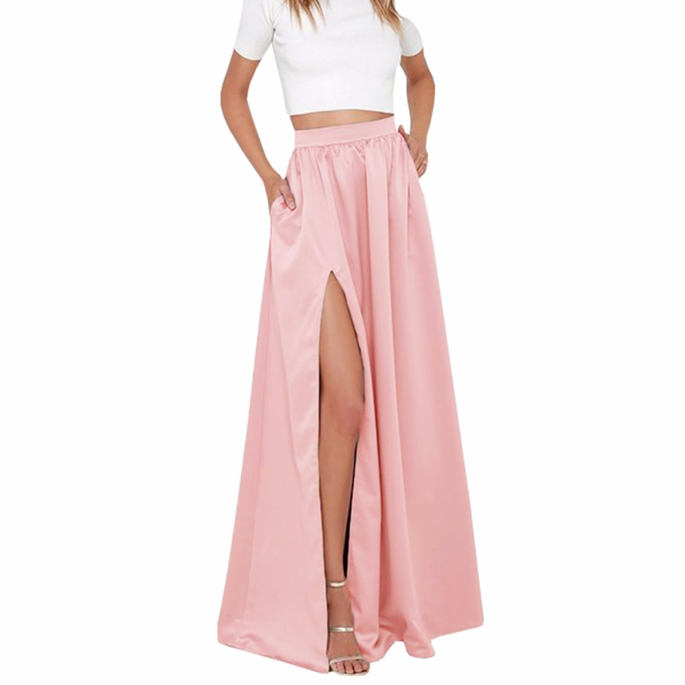 723d25a0533 Elegant Women Long Skirt with Pockets Classy Pretty Maxi Skirt with Slits  Floor Length A Line Female Skirt for Ladies to Office