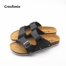 Cresfimix women high quality pu leather spring & summer flip flops lady casual comfortable slip on s