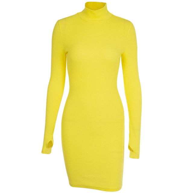 Turtleneck Long Sleeve Skinny Mini Dress Kendall Jenner Outfits Sporting Dresses 4 Color Bodycon Slim Yellow Clubwear 5