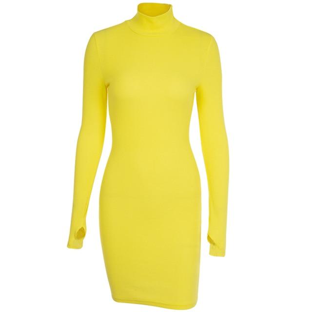InstaHot Turtleneck Long Sleeve Skinny Mini Dress Women Autumn Sexy Sporting Style Dresses 4 Color Bodycon Slim Yellow Clubwear 8