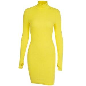 Image 5 - InstaHot golf z długim rękawem Skinny Mini sukienka kobiety jesień Sexy sukienki w stylu sportowym 4 kolor Bodycon Slim żółty Clubwear