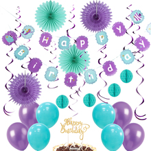 Mermaid Theme Baby Show Girl Birthday Party Decorations 13pcs Hanging Swirl Balloons Under The Sea Favor Supplies