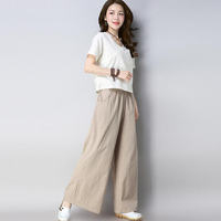 Cotton Linen Two pieces set summer Women Clothing 2018 New Women Casual Elegant Tops+Wide Leg long Pant Suit XXL