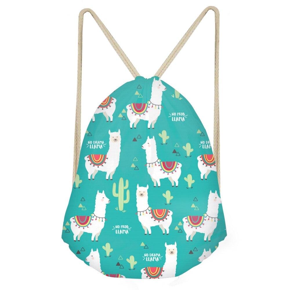 Cute Animal Alpaca Cactus 3D Print Girls Drawstring Bags Funny Softback Storage Backpacks Children Storage Sack