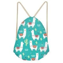 Cute Animal Alpaca Cactus 3D Print Girls Drawstring Bags Funny Softback Storage Backpacks Children Storage Sack BagsSumka