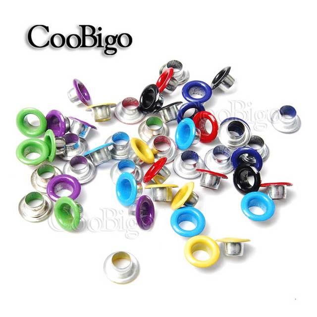 100 piezas agujero de 5mm ojales de Metal de colores mezclados para cuero DIY Scrapbooking Shoes cinturón Cap bolsa etiquetas ropa de moda accesorios