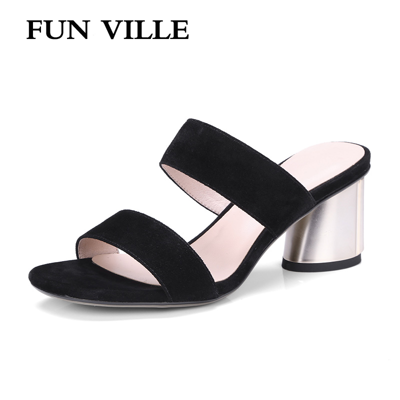 FUN VILLE 2018 Summer New Fashion Women Slippers Natural suede high heels Open Toe shoes for woman sexy ladies shoes size 34-42 playmobil 5266 summer fun детский клуб с танц площадкой
