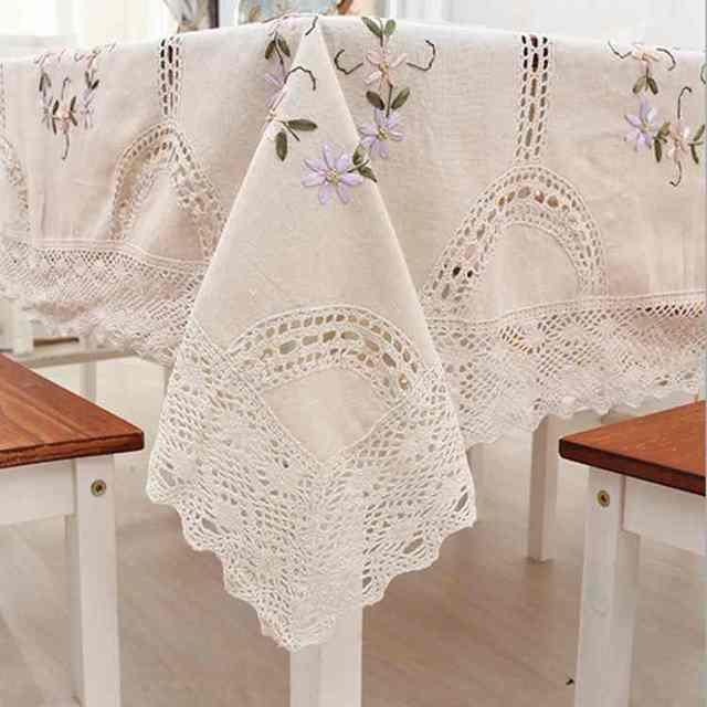 Envío Gratis algodón crochet encaje pastoral bordado hecho a mano ...