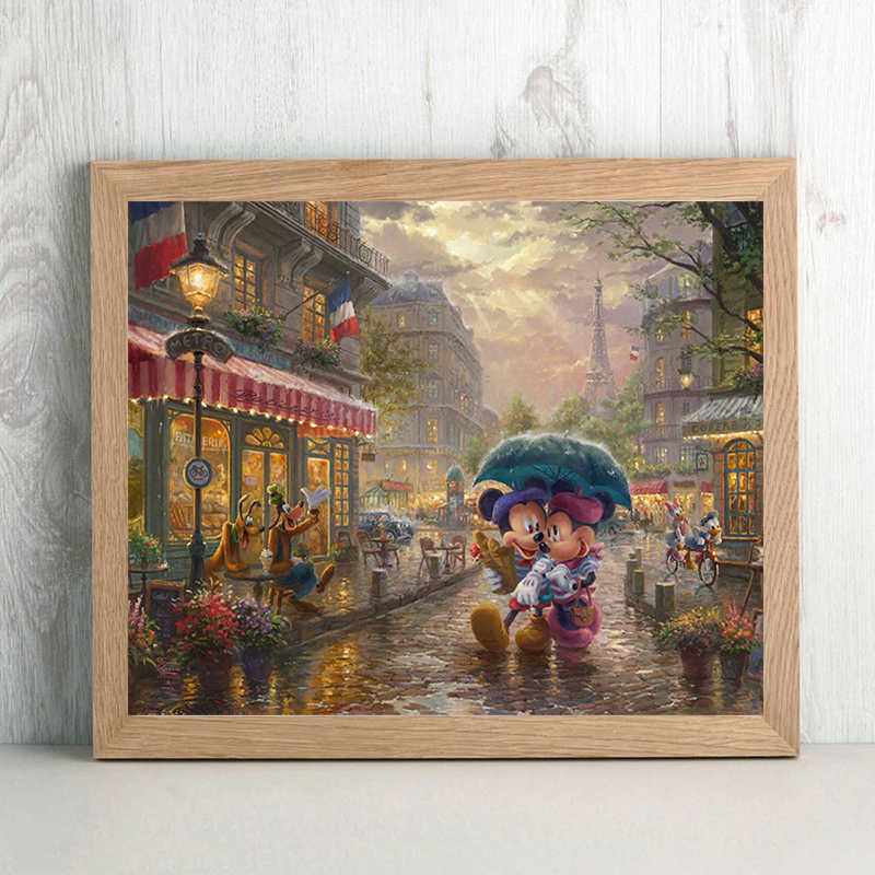 Thomas Kinkade Mickey And Minnie Paris Cartoon Canvas Painting Print Living Room Home Decor Modern Wall Art Oil Painting Poster