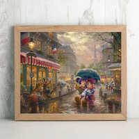 Thomas Kinkade Mickey et Minnie Paris dessin animé toile peinture imprimer salon décor à la maison moderne mur Art peinture à l'huile affiche