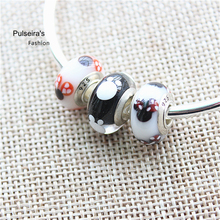 2016 European Charms Murano Glass Minnie Big Hole Beads Fit Pandora Original Bracelets & Bangles For Women Jewelry Making